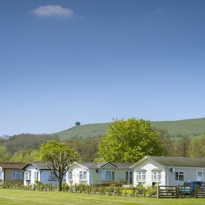 Residential park homes at Rockbridge, Mid Wales.